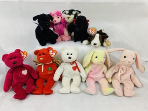 Lot Of 10 Original Ty Beanie Babies Bruno Pretzels OohLa Gigi Hoppity Gift & More for Sale in Berea, OH