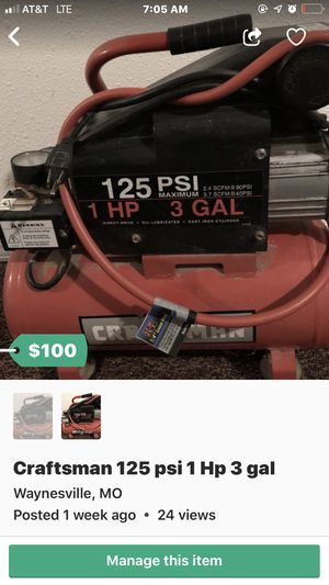 Craftsman 125 psi 1 Hp 3 gal for Sale in Waynesville, MO