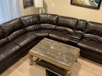Recline Leather Sofa With Center & End Tables. for Sale in Oceanside,  CA
