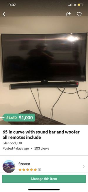 """65"""" curve cheapppp for Sale in Glenpool, OK"""