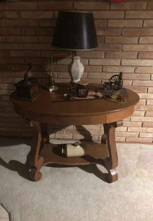 """Everything Goes! Lamp, Table, antique Coffee Grinder, Quail&WagonWheel metal sculpture by T J Nichols, and """"old""""ceramic tank for Sale in Austin, TX"""