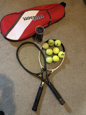 Two tennis rackets with 8 balls and bag! for Sale in Seattle, WA