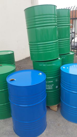 Mint condition food grade no chemical 55 gallon metal drum $15 each for Sale in Rosemead, CA
