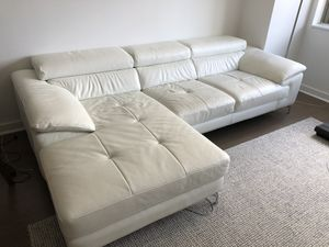 Italian white leather sectional for Sale in Jersey City, NJ