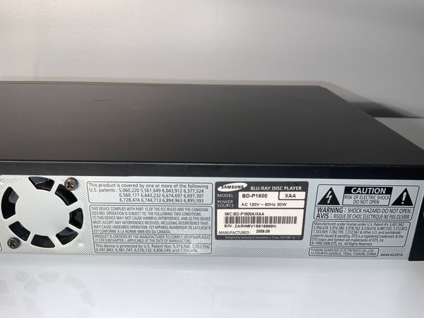 SAMSUNG DVD/BLU-RAY Player BD-P1600