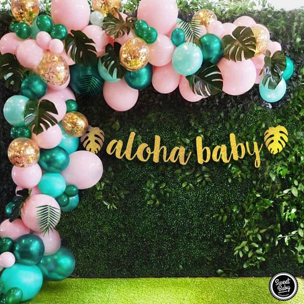 Flamingo tropical jungle baby shower decoration balloon garland arch kit