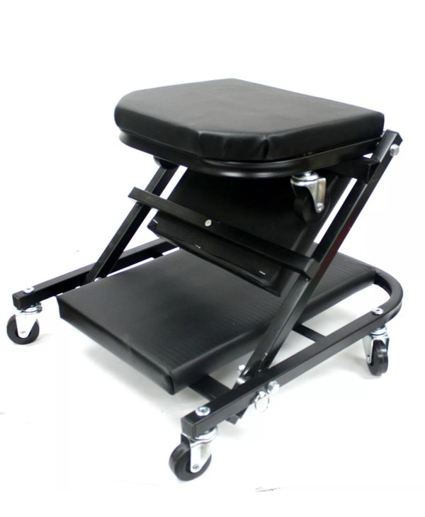 Foldable Z Creeper Seat Rolling Chair Auto Mechanics Shop Garage Work Stool BLK