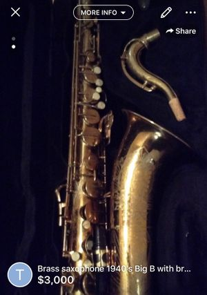 Brass saxophone 1940's Big B with brand new case and all parts original. for Sale in Georgetown, TX