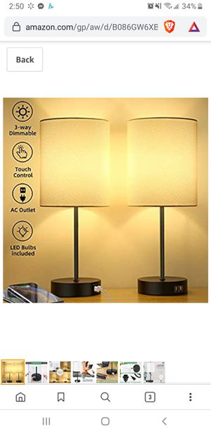 New in sealed box, Set of 2 Touch Control 3-Way Dimmable Bedside Table Lamp, 2 USB Charging Ports Nightstand Lamp with 2700K Warm White Bulb for Sale in Tustin, CA