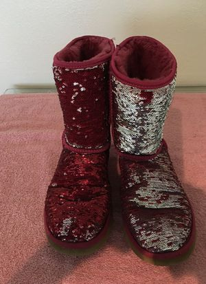 Mermaid ugg boots reversible red to silver for Sale in Phoenix, AZ
