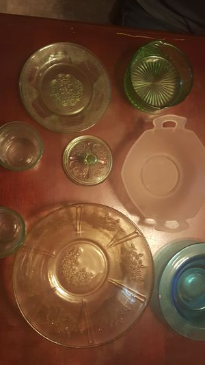 Vintage antique glassware Vaseline glass for Sale in Columbus, OH
