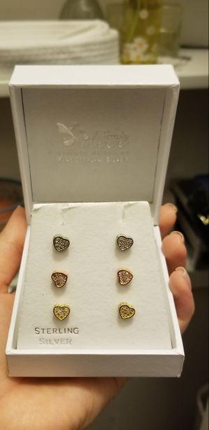 Sterling silver heart earrings. for Sale in Corona, CA