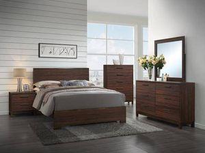 4PC QUEEN BEDROOM SET: QUEEN BED FRAME, DRESSER, MIRROR, NIGHTSTAND--RUSTIC TOBACCO for Sale in Marysville, CA