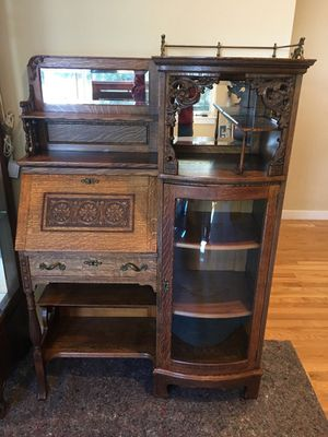 Beautiful antique Secretary. Original curved glass. for Sale in Oakland, CA