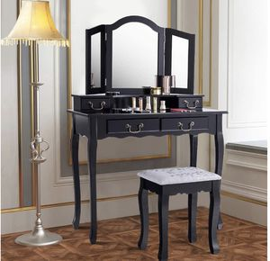 Giantex Vanity Table Set with Stool, Tri-Folding Makeup Dressing Mirror Bedroom Chic Organizer Cushioned Chair Wooden Leg for Women Girl Fold Desk Va for Sale in South El Monte, CA