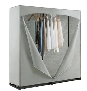"""Organizer Closet with Hanging Rack size: 60"""" x 19.5'' x 64'' (L x W x H)Color: Grey Main material: pp, iron, non-woven fabric PVC for Sale in Ontario, CA"""
