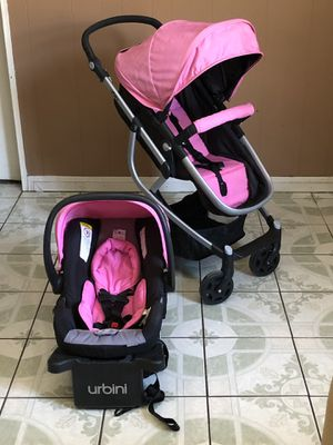 LIKE NEW URBINI OMNI PLUS TRAVEL STROLLER CAR SEAT AND BASSINET 3 in 1 for Sale in Jurupa Valley, CA