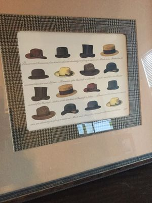 Hats print with nice matting and frame for Sale in Lynchburg, VA