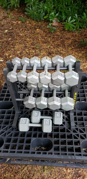 Hex Dumbbells 10-35 lbs in pairs, with rack, 270 lbs total for Sale in Snohomish, WA