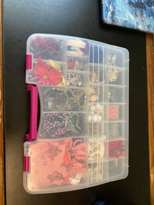 Plastic Organizer with Assorted Jewelry for Sale in Ithaca, NY