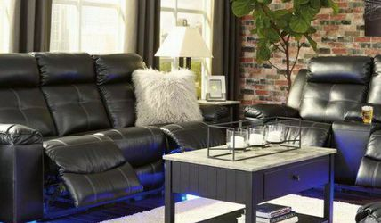 🍒Same Day Delivery 👉SPC.Kempten Black LED Reclining Living Room Set by Ashley for Sale in Washington,  DC
