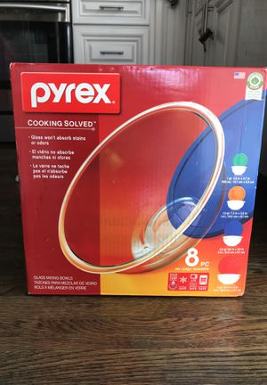 Pyrex 8 pc glass mixing bowls for Sale in Arlington, MA