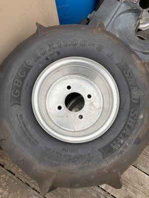 Sand shark paddle tires for quad with aluminum rims (4) for Sale in Payson, AZ