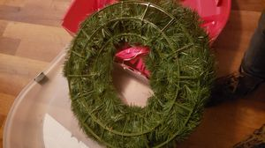 Christmas wreath in storage container for Sale in Oklahoma City, OK