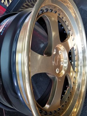 """22"""" staggered gold rotiform rim n tire for Sale in Houston, TX"""