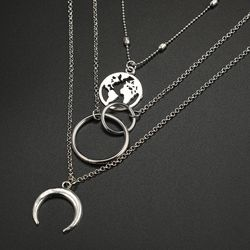 Fashion Bohemia World Map Crescent Moon Choker Multilayer Necklace For Women for Sale in Los Angeles,  CA