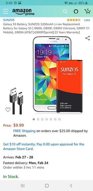 SUNZOS Galaxy S5 Battery, SUNZOS 3200mAh Li-ion Replacement Battery for Galaxy S5 for Sale in Las Vegas, NV