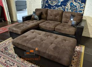 Brand New Brown Microfiber Sectional Sofa Couch + Ottoman for Sale in Takoma Park, MD