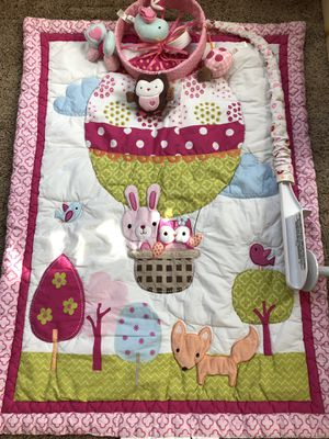 Circo rabbit, owl, fox baby blanket and matching crib mobile for Sale for sale  Cypress, TX