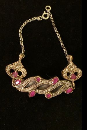 Antique Byzantine Roxelana Style Ruby Topaz Silver & Bronze Encrusted Bracelet for Sale in Nashville, TN