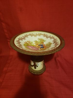 Antique French Serves Style Bronze Mounted Pedestal Porcelain Compote for Sale in Takoma Park, MD