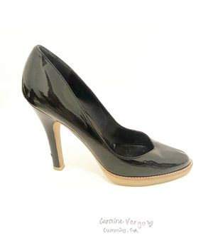 Patent Leather Round Toe Black Pumps Size 9.5 for Sale in Cumming, GA