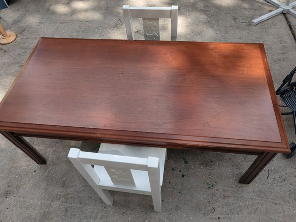 Kids play table with two chairs solid wood