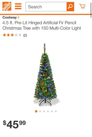 4.5 ft. Pre-Lit Hinged Artificial Fir Pencil Christmas Tree with 150 Multi-Color Light for Sale in Los Angeles, CA