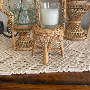Wicker Doll Footstool To Display Plant/candle 3 1/4 Width 3 1/2 Ht for Sale in Lynwood, CA