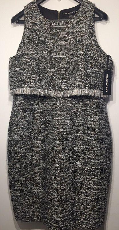 Karl Lagerfeld Paris Chanel inspired tweed dress size 16