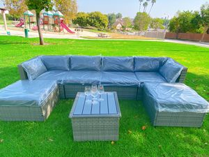 Brand new!Assembled!High quality!Big size!7 Piece Patio Furniture Set with 4 Rattan Wicker Chairs, 2 Ottoman, Coffee Table, for Sale in Hacienda Heights, CA
