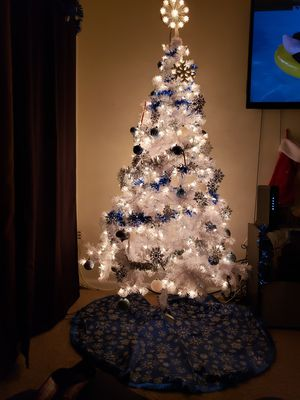 White Christmas tree with blue/silver decorations for Sale in Fairfax, VA