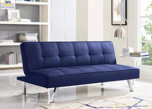 New blue futon sofa sectional for Sale in Orlando, FL