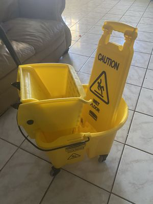 Mop bucket with sign for Sale in Tempe, AZ