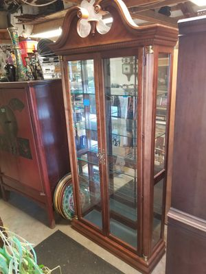Antique Curio Cabinet with light at the top and the bottom. Mirrored back 37w x 12D x 84h 4 adjustable glass shelves with plate holder for Sale in Portland, OR