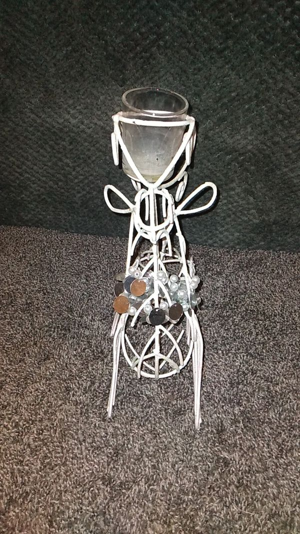 Silver/White Glitter Reindeer Candle Holder!