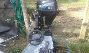 Tohatsu tilt and trim 9.8 with steering for sailboat excellent motor for Sale in US