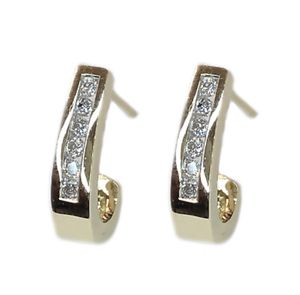 Channel Set Diamond Earrings With 12 Round Diamonds for Sale in Buena Park, CA