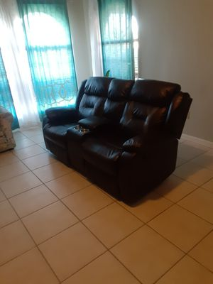 Reclinable couch with compartment for Sale in Hartstown, PA