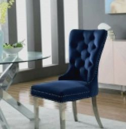 Charlotte Velvet Dining Chair - Chrome Legs (Set of 2) for Sale in Los Angeles,  CA